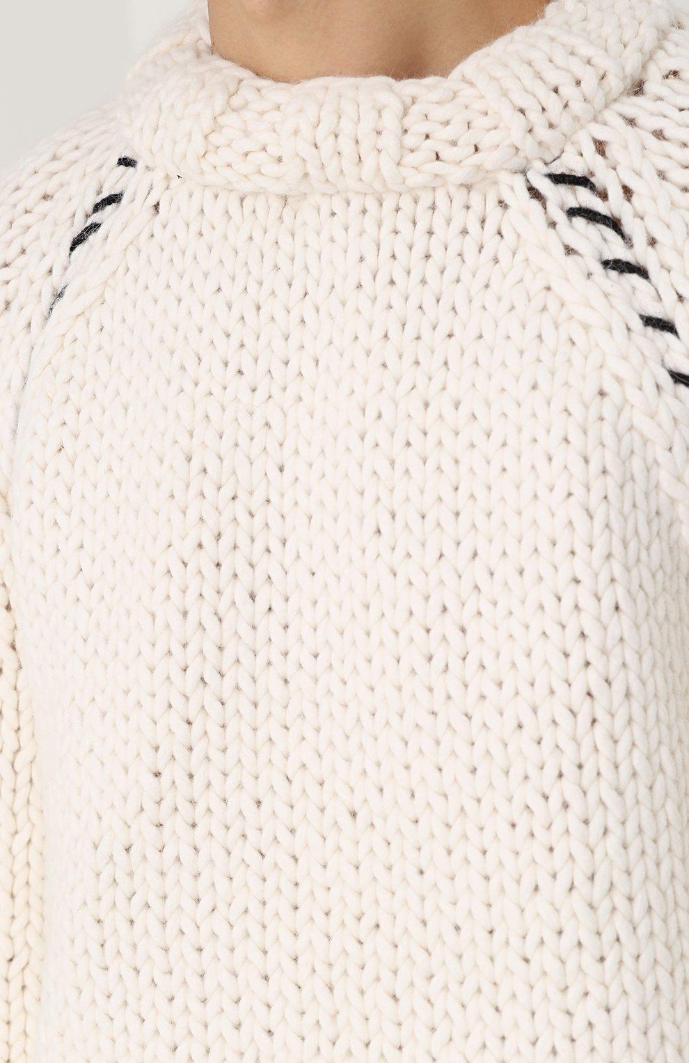 Шерстяной вязаный свитер свободного кроя | Фото №5
