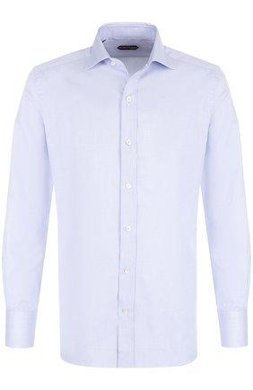 Мужская хлопковая сорочка с воротником кент TOM FORD голубого цвета, арт. 2FT024/94S1AX | Фото 1