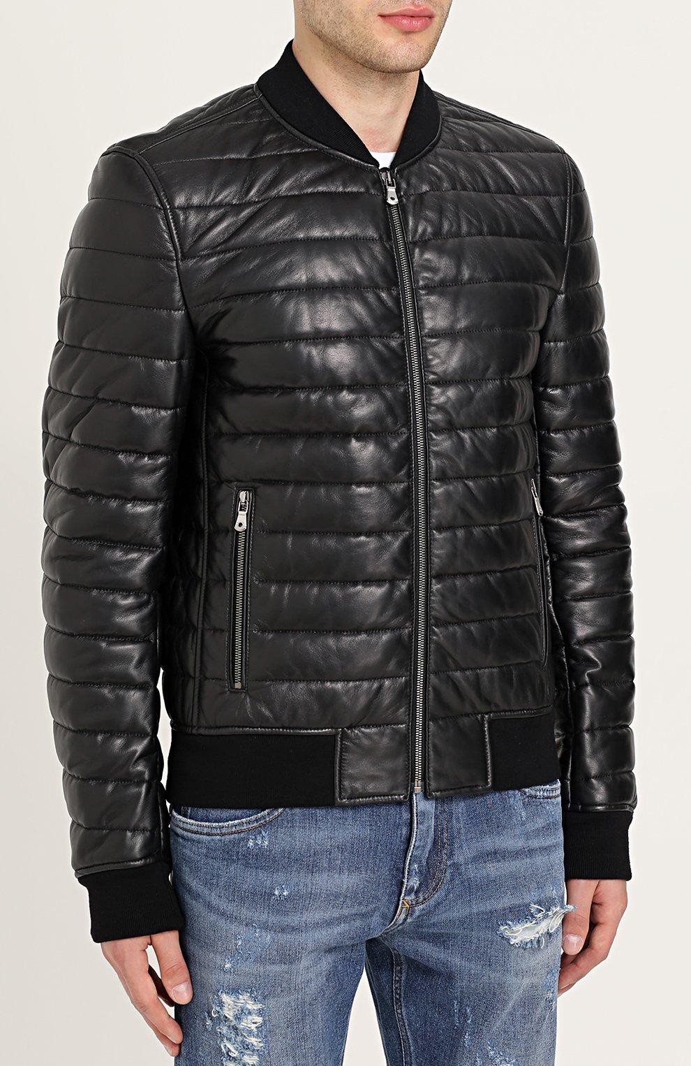 Кожаный бомбер на молнии Dolce & Gabbana черная | Фото №3
