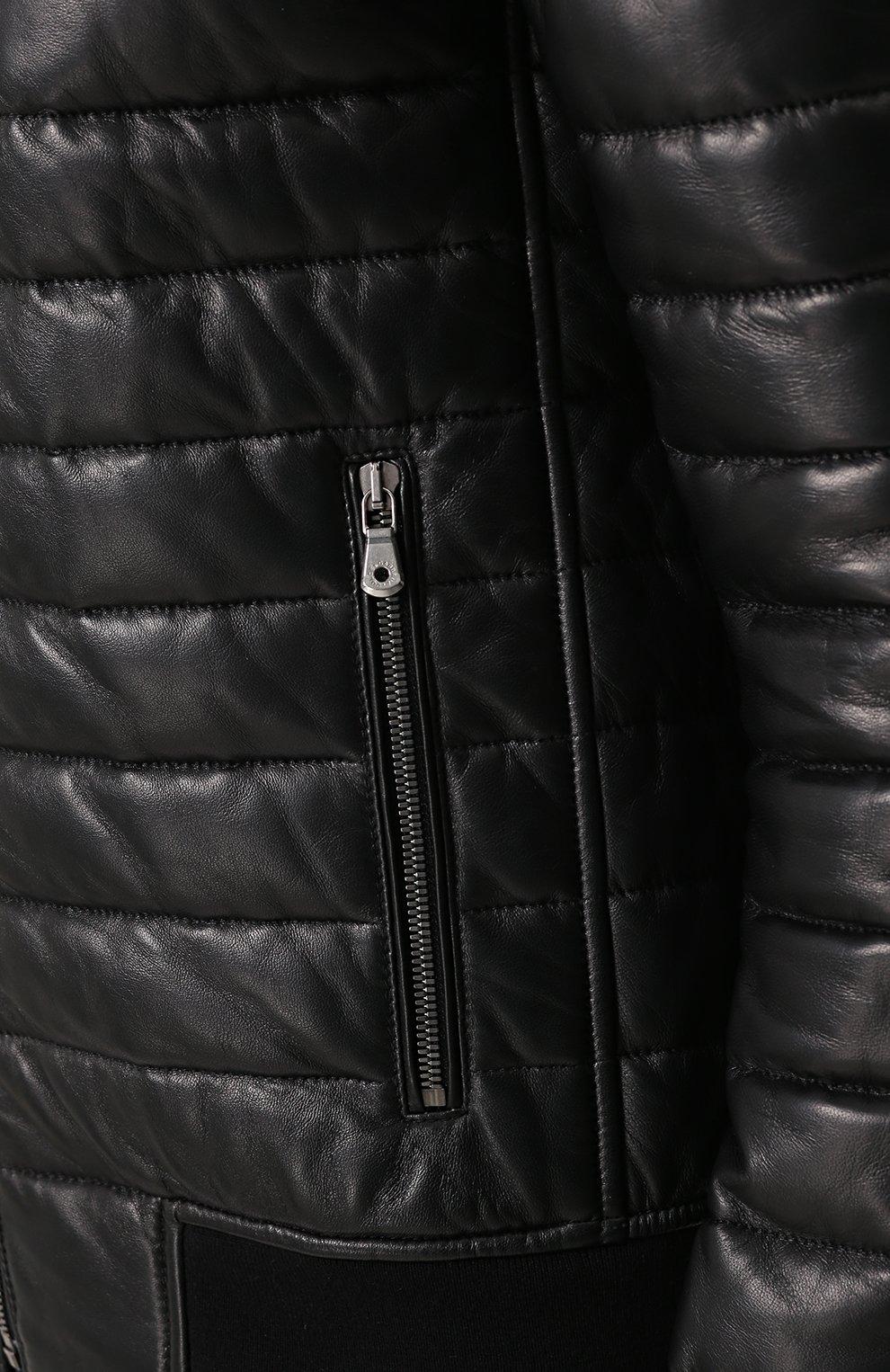 Кожаный бомбер на молнии Dolce & Gabbana черная | Фото №5