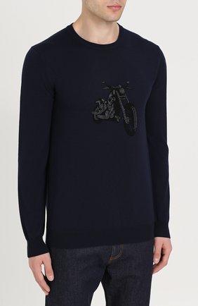 Джемпер из шерсти тонкой вязки с принтом | Фото №3