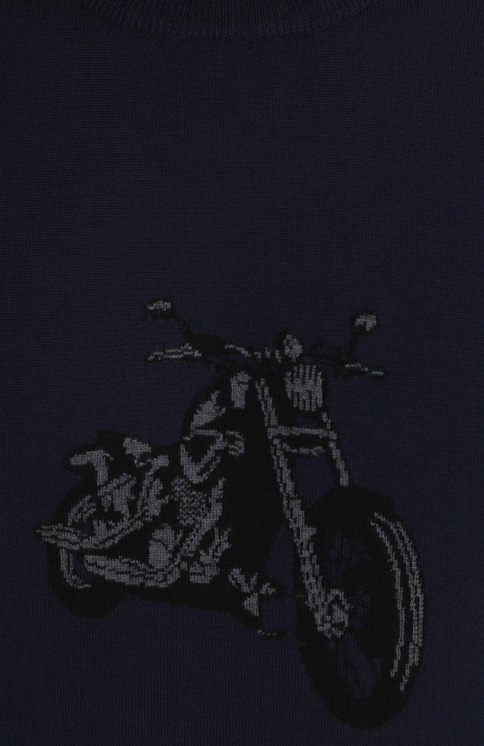 Джемпер из шерсти тонкой вязки с принтом | Фото №5