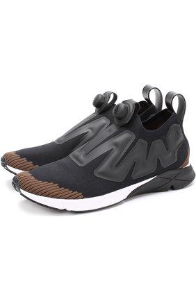 Текстильные кроссовки Pump Supreme Ultraknit Reebok черно-белые   Фото №1