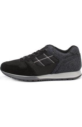 Текстильные кроссовки на шнуровке с замшевой отделкой | Фото №3