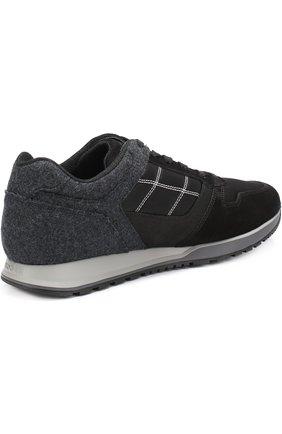 Текстильные кроссовки на шнуровке с замшевой отделкой | Фото №4