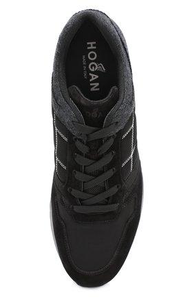 Текстильные кроссовки на шнуровке с замшевой отделкой | Фото №5