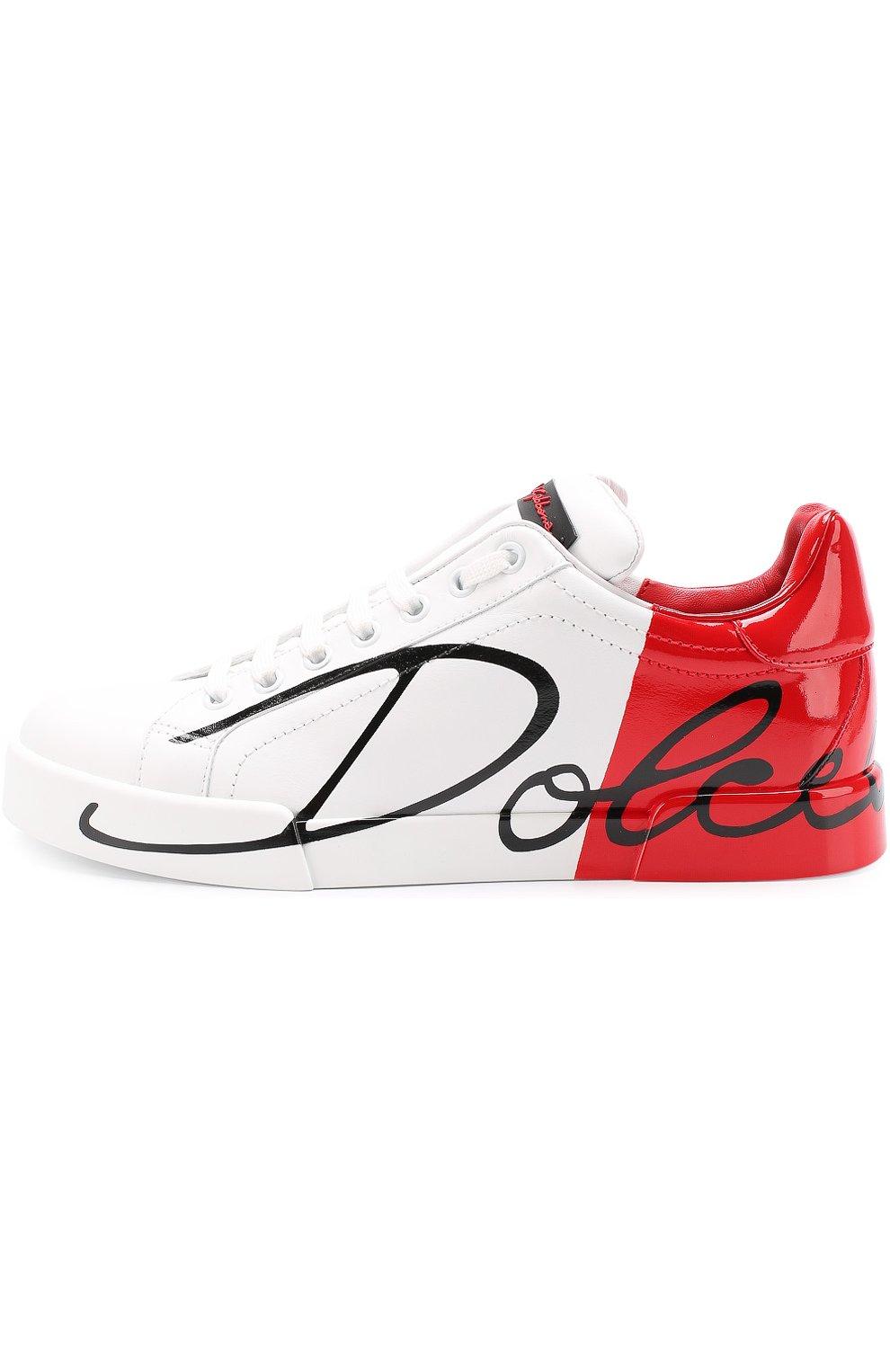 Кожаные кеды Portofino Dolce & Gabbana красные | Фото №3