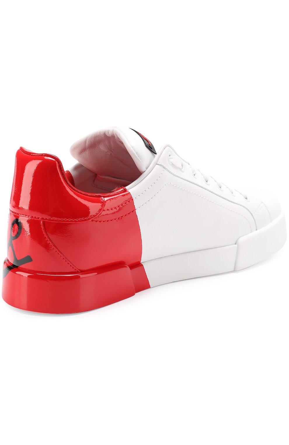Кожаные кеды Portofino Dolce & Gabbana красные | Фото №4