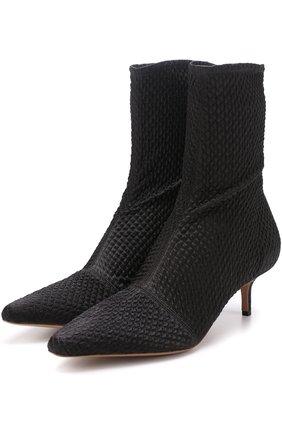 Текстильные ботильоны с прострочкой на каблуке kitten heel Altuzarra черные   Фото №1