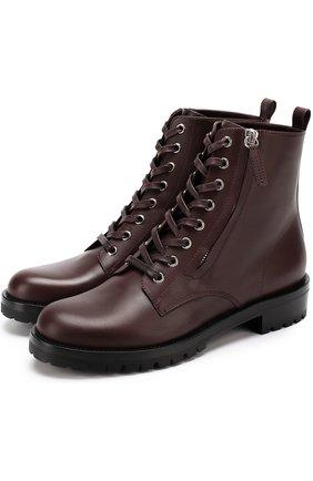 Кожаные ботинки на шнуровке | Фото №1