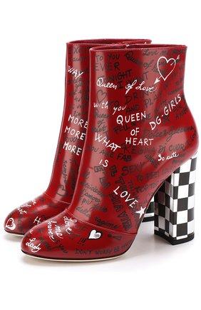 Кожаные ботильоны с принтом на устойчивом каблуке Dolce & Gabbana красные | Фото №1