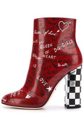 Кожаные ботильоны с принтом на устойчивом каблуке Dolce & Gabbana красные | Фото №3