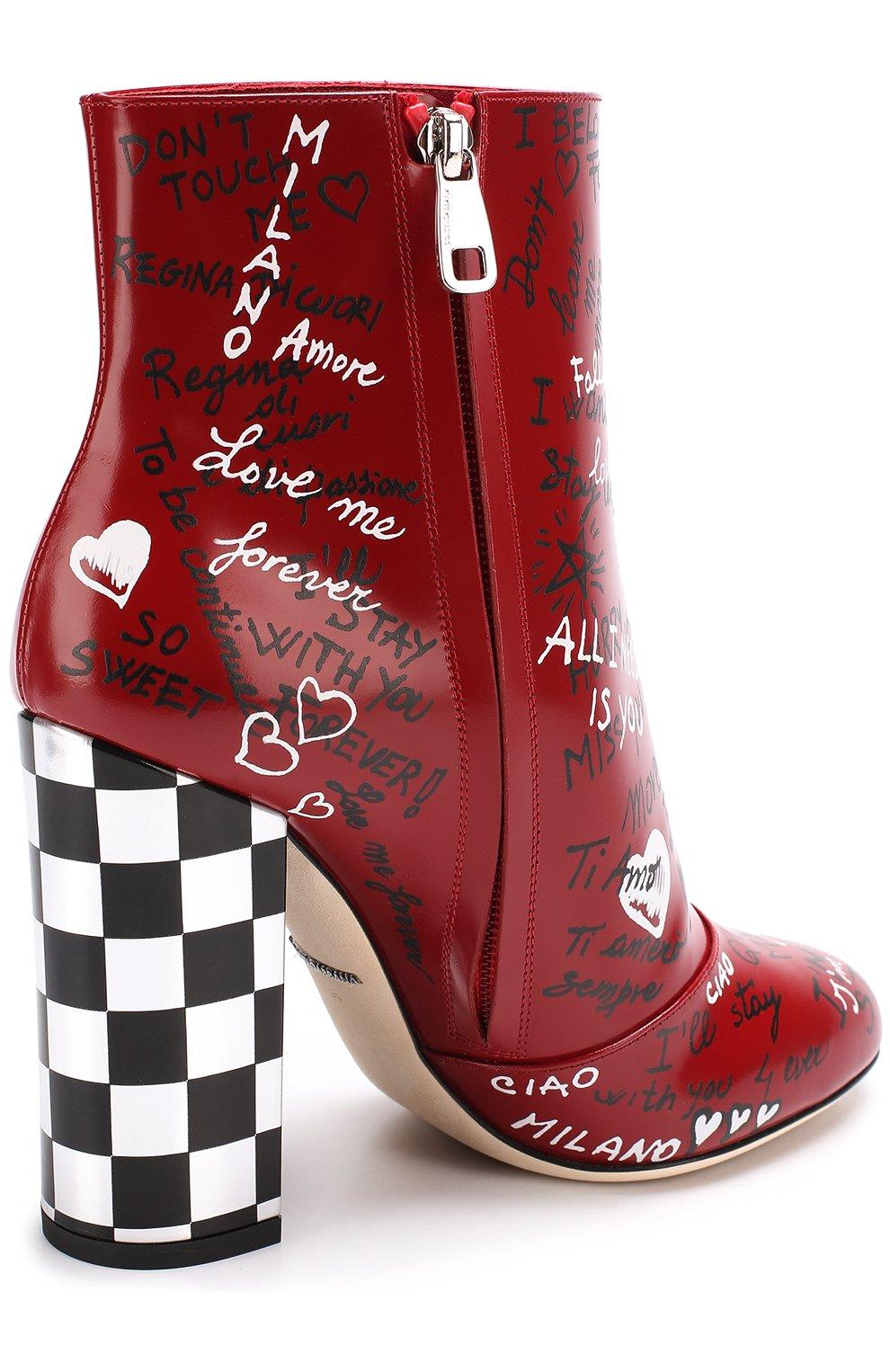 Кожаные ботильоны с принтом на устойчивом каблуке Dolce & Gabbana красные | Фото №4