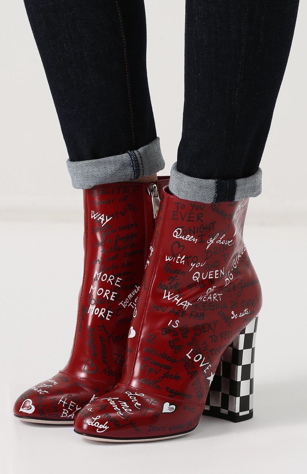 Кожаные ботильоны с принтом на устойчивом каблуке Dolce & Gabbana красные | Фото №6