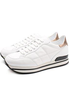 Кожаные кроссовки на шнуровке Hogan белые | Фото №1