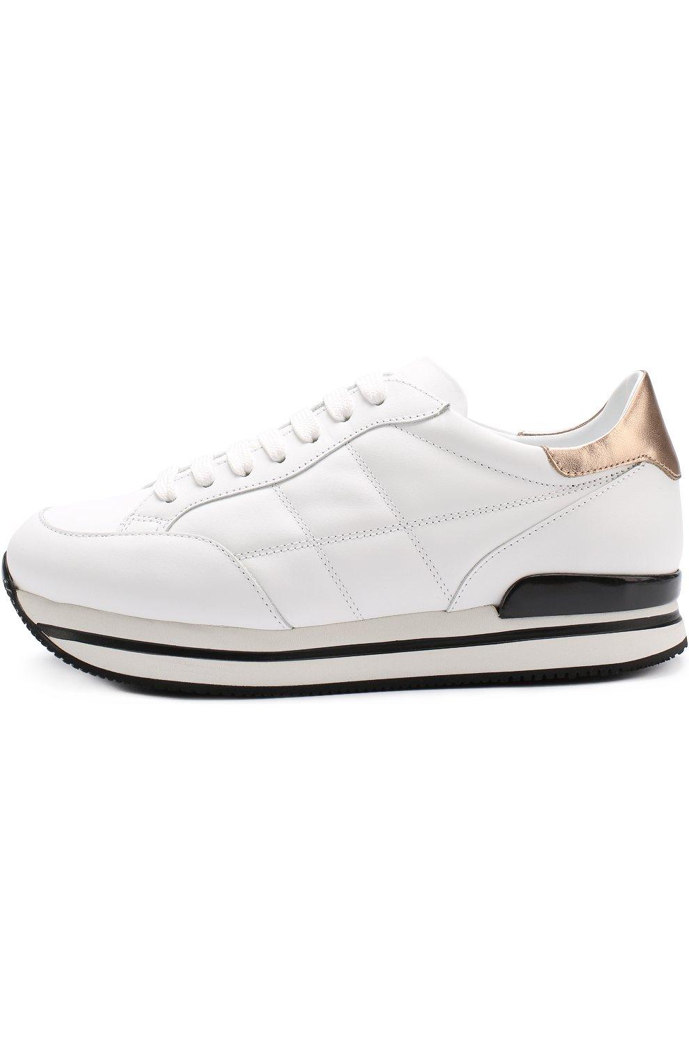 Кожаные кроссовки на шнуровке Hogan белые | Фото №3