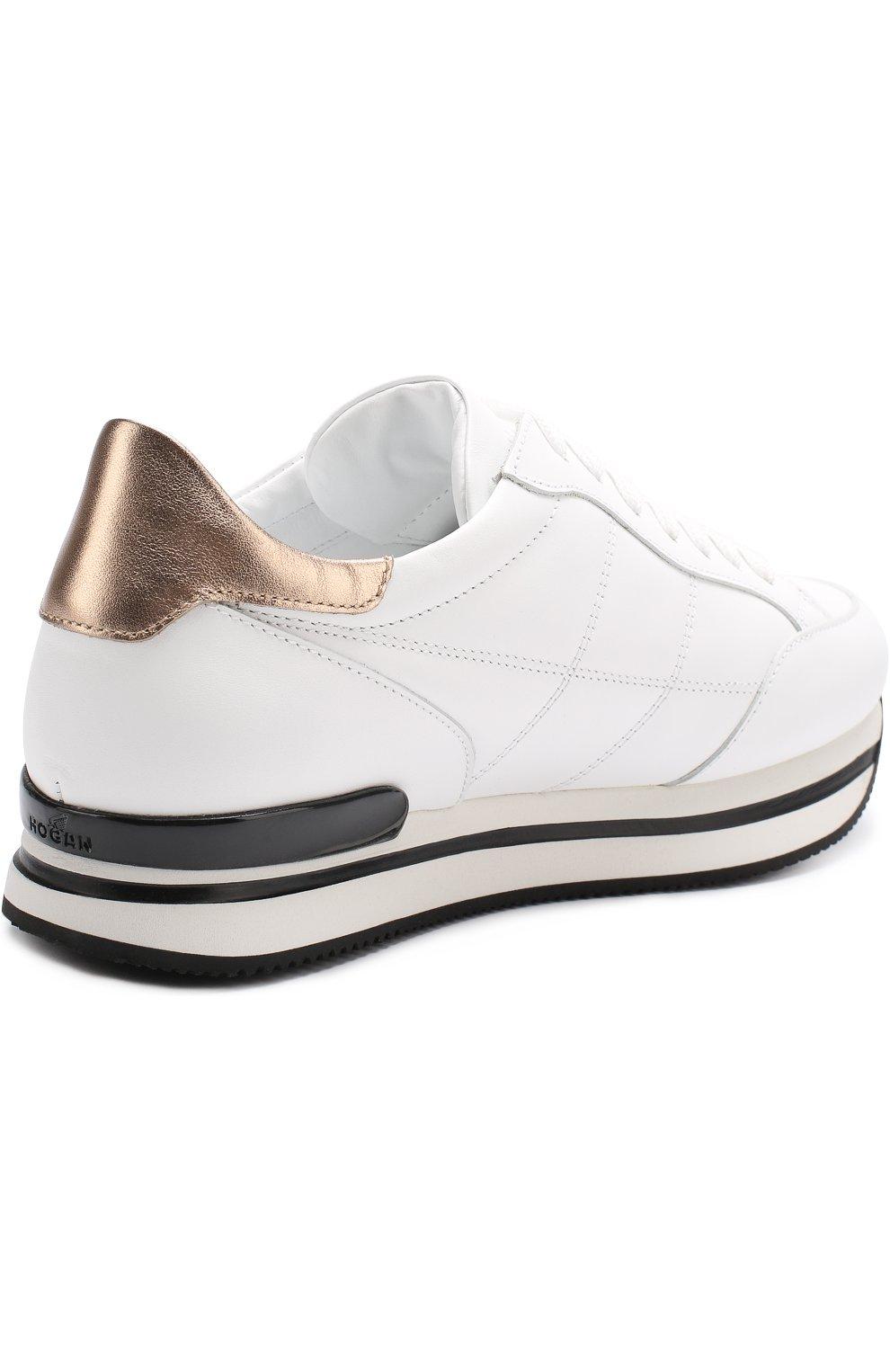 Кожаные кроссовки на шнуровке Hogan белые | Фото №4