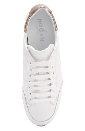 Кожаные кроссовки на шнуровке Hogan белые | Фото №5