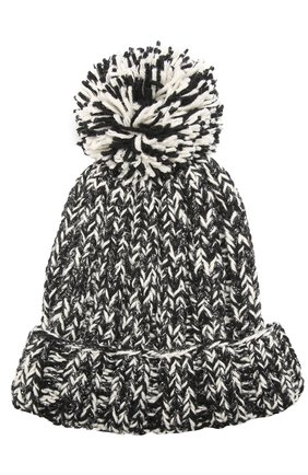 Шерстяная вязаная шапка с помпоном и отделкой металлизированной нитью | Фото №1