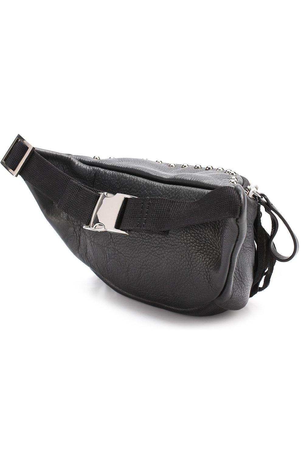 Кожаная сумка с бахромой и заклепками на пояс | Фото №2