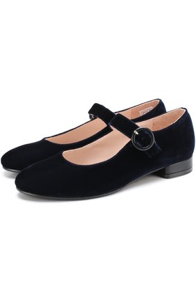 Бархатные туфли с ремешком | Фото №1