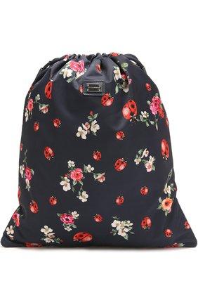 Текстильный рюкзак с принтом Dolce & Gabbana синего цвета   Фото №1