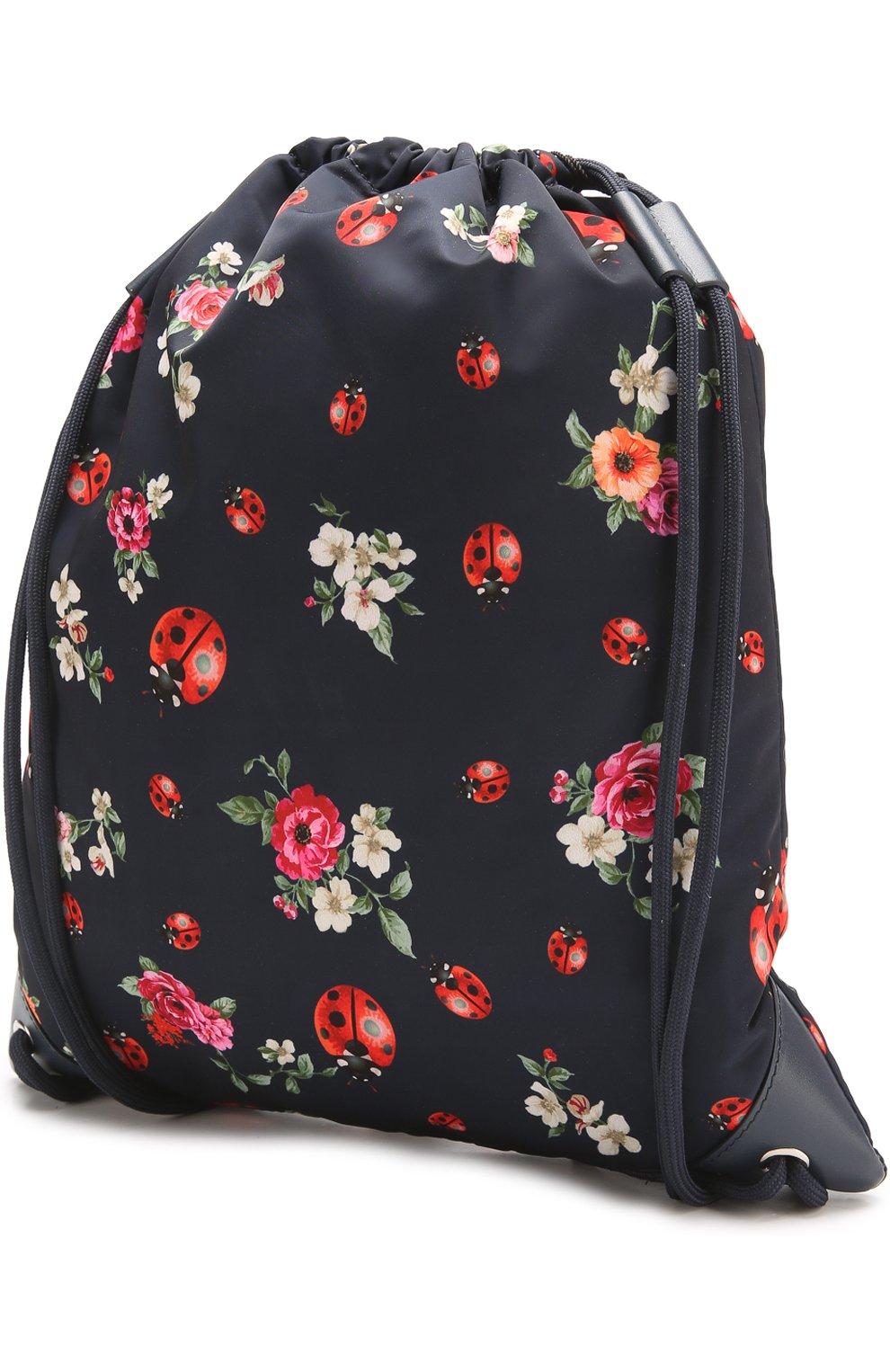 Текстильный рюкзак с принтом Dolce & Gabbana синего цвета   Фото №2