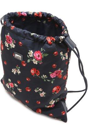 Текстильный рюкзак с принтом Dolce & Gabbana синего цвета   Фото №3