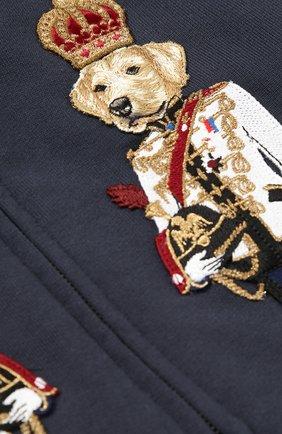 Детский спортивный кардиган из хлопка с аппликациями Dolce & Gabbana темно-синего цвета | Фото №3