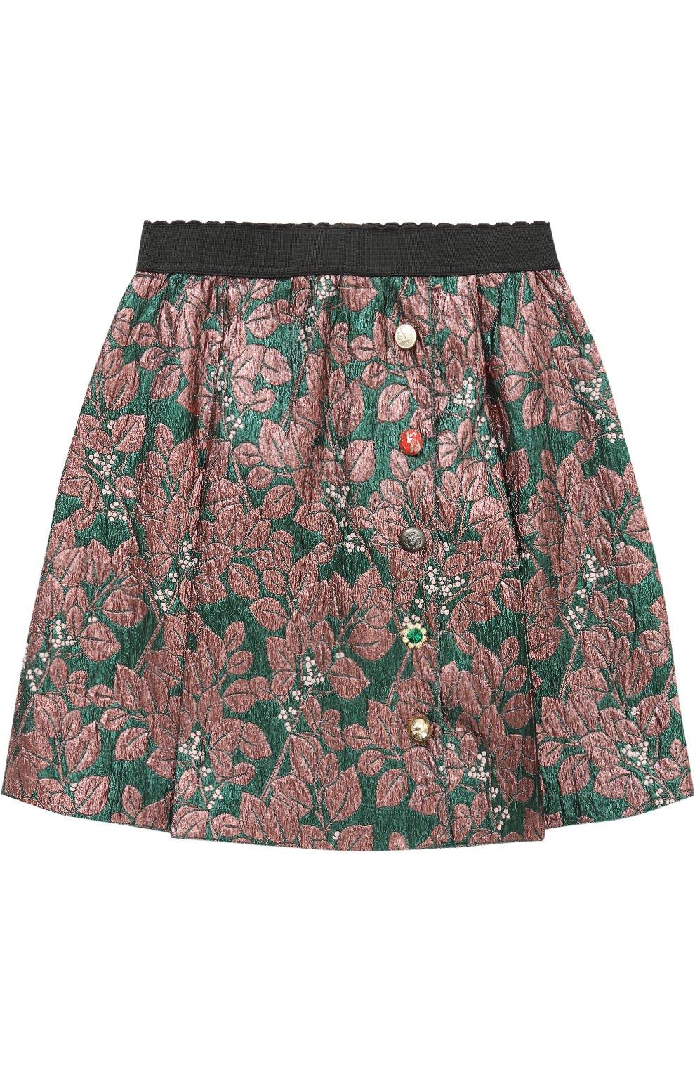 Мини-юбка с металлизированным принтом и декоративными пуговицами | Фото №1