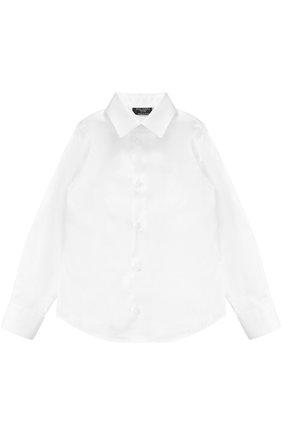 Детская хлопковая рубашка прямого кроя DAL LAGO белого цвета, арт. N402/7915/4-6 | Фото 1