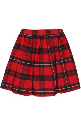 Детская хлопковая мини-юбка в клетку Dolce & Gabbana красного цвета | Фото №2