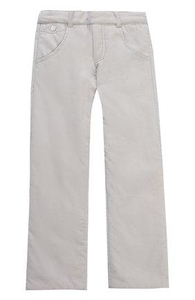 Детские хлопковые брюки прямого кроя с эластичной вставкой на поясе TARTINE ET CHOCOLAT серого цвета, арт. TK22071/2A-3A | Фото 1 (Материал внешний: Хлопок; Статус проверки: Проверено)