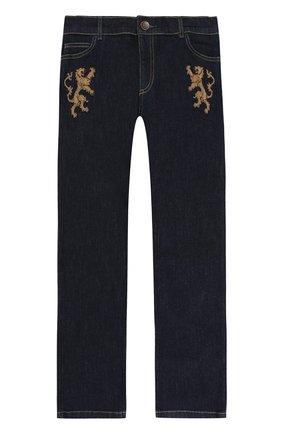 Детские джинсы прямого кроя с нашивками Dolce & Gabbana темно-синего цвета   Фото №1