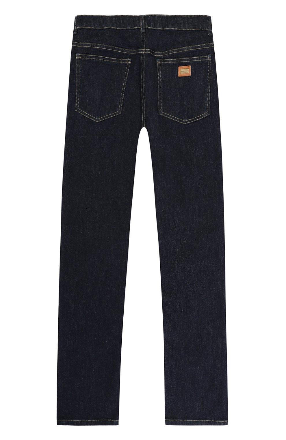 Детские джинсы прямого кроя с нашивками Dolce & Gabbana темно-синего цвета   Фото №2