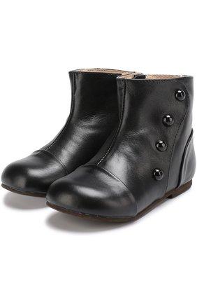 Кожаные ботинки с декоративными пуговицами   Фото №1