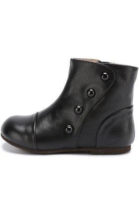 Детские кожаные ботинки с декоративными пуговицами Age of Innocence черного цвета   Фото №1