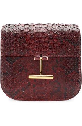 Женская сумка t clasp из кожи питона TOM FORD бордового цвета, арт. L1018T-P42   Фото 1