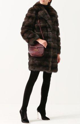 Женская сумка t clasp из кожи питона TOM FORD бордового цвета, арт. L1018T-P42   Фото 2