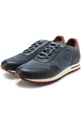 Замшевые кроссовки с кожаной отделкой на шнуровке   Фото №1