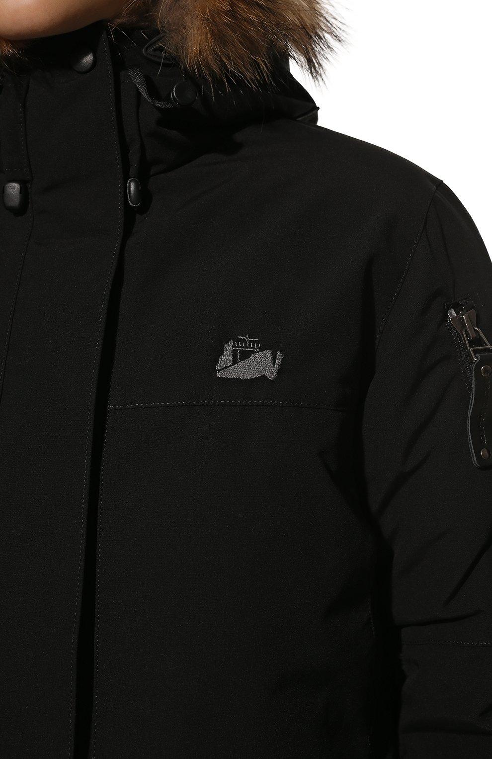 Женская пуховая парка с меховой отделкой капюшона ARCTIC EXPLORER черного цвета, арт. POLRS_BLK | Фото 5 (Кросс-КТ: Куртка; Рукава: Длинные; Длина (верхняя одежда): До середины бедра; Материал внешний: Пух и перо; Статус проверки: Проверена категория)
