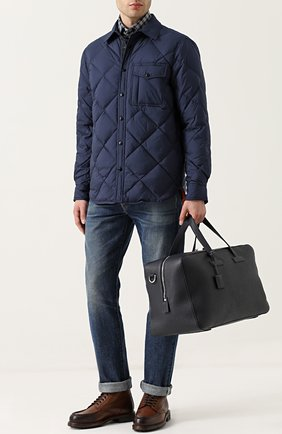 Мужская кожаная дорожная сумка с плечевым ремнем TOM FORD темно-синего цвета, арт. H0348H-C92 | Фото 2
