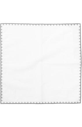 Мужской платок из смеси льна и хлопка ERMENEGILDO ZEGNA белого цвета, арт. Z2I00/37A | Фото 2