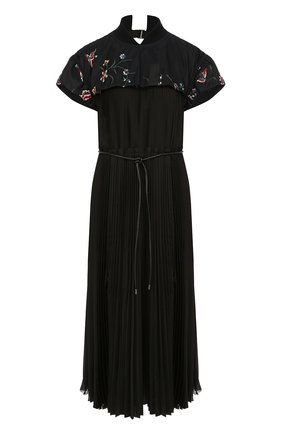 Плиссированное платье-миди с поясом Sacai черное | Фото №1