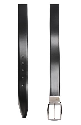 Кожаный ремень с металлической пряжкой Pal Zileri черный   Фото №1
