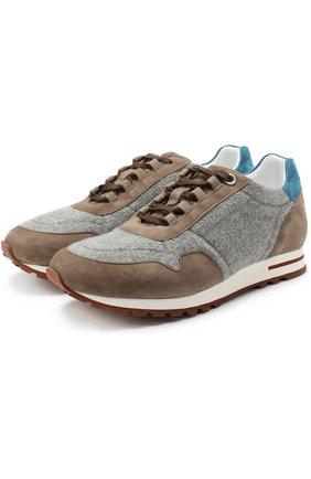 Замшевые кроссовки с отделкой из кашемира | Фото №1