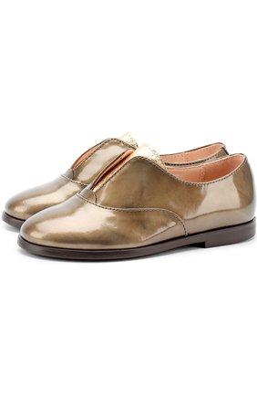 Кожаные ботинки с металлизированной отделкой | Фото №1