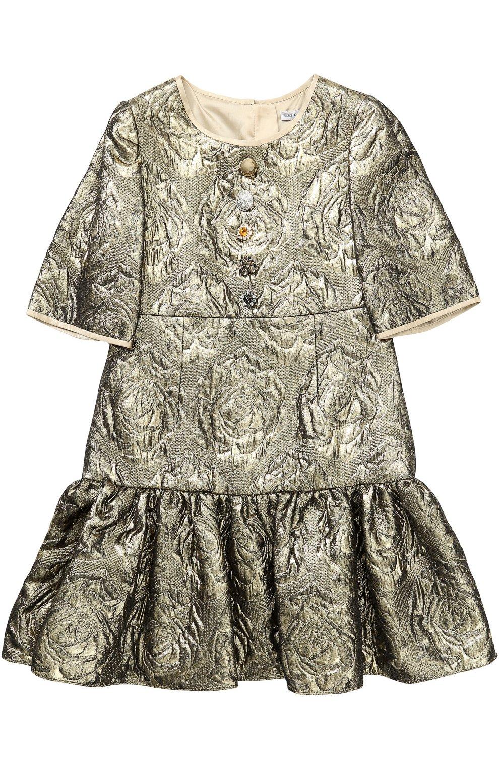 Мини-платье с цветочным узором и металлизированной отделкой   Фото №1