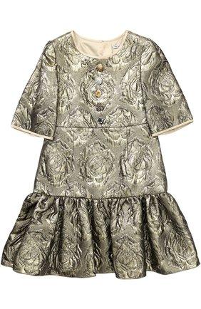 Детское мини-платье с цветочным узором и металлизированной отделкой Dolce & Gabbana золотого цвета   Фото №1