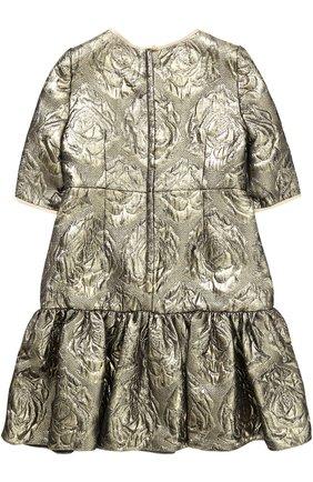 Детское мини-платье с цветочным узором и металлизированной отделкой Dolce & Gabbana золотого цвета   Фото №2